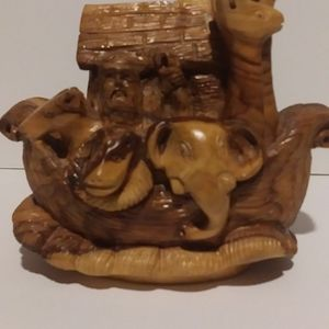Noah's Ark Olive wood carving.